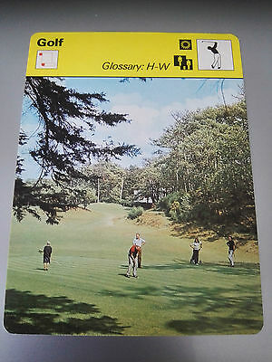 GOLF - GLOSSARY H-W - Sportscaster Photo Fact Card