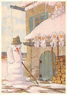 "vintage blank greeting cards ARS SACRA artist scholly"" snowman ""3704"" from 1930"