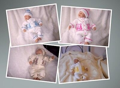Knitted Bunny Pram Suit Reborn 20in Baby 0 - 3 mnths