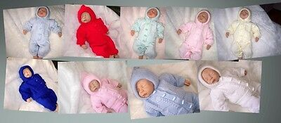 KNITTED HOODED INVERTED V PRAM SUIT REBORN 20in BABY 0 - 3 MNTHS