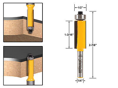 "1-1/4"" Cutting Height X 1/2"" Flush Trim Router Bit - 1/4"" Shank - Yonico 14139q"