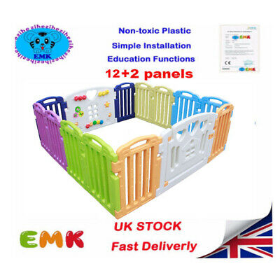 12+2 Side Plastic Baby Children Mixed Colors PlayPen With Education Functions UK