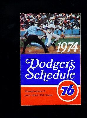 *1974 Los Angeles Dodgers MLB baseball tri-fold schedule (Union Oil)