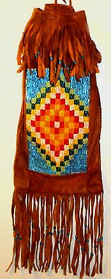 "Vintage 15"" Elkhide Leather American Indian Beaded Medicine or Tobacco Pipe Bag"