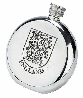 Royal Arms of England Crest Fine English Pewter Flask Made in England