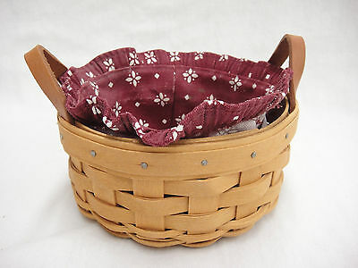 Longaberger Small Round Basket w Burgundy Fabric Liner & Leather Handles 2002