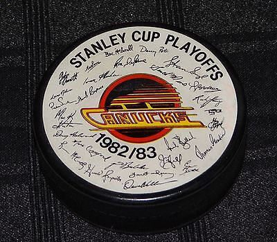 Ultra Rare Vancouver Canucks 1982-83 Stanley Cup Playoffs Facsimile Auto. Puck