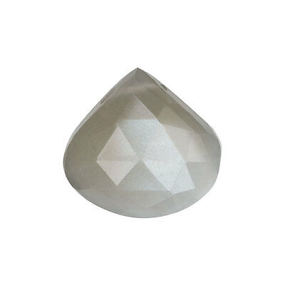 Moonstone Gemstone Beads, Faceted Heart Briolette 17-21mm, 1 Piece, Grey