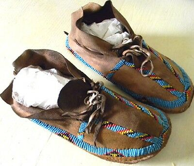 """Vintage Antique 8.5"""" Native American Cheyenne Indian Beaded Moccasins"""