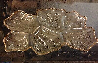 Large Glass Serving Dish - Gold Trim - 6 Sections