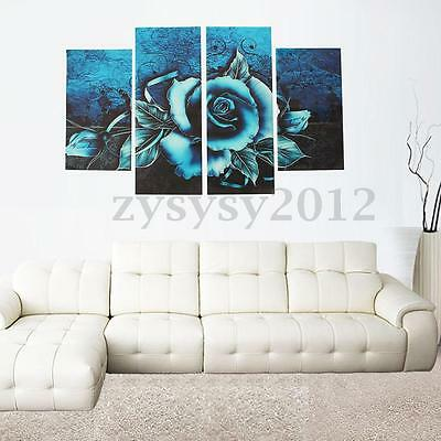 Abstract Teal Rose Floral Canvas Print Wall Art Pictures Flower Home Decor