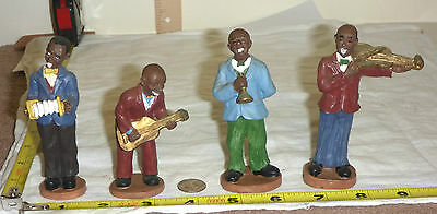 Vtg Collectible AFRICAN AMERICAN JAZZ BAND Figurines - 4 Hand-Painted Musicians