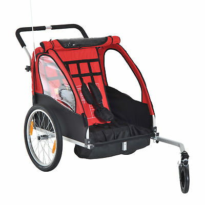 2-in-1 Double Seats Baby Kids Bicycle Trailer Stroller w/ All Weather Canopy