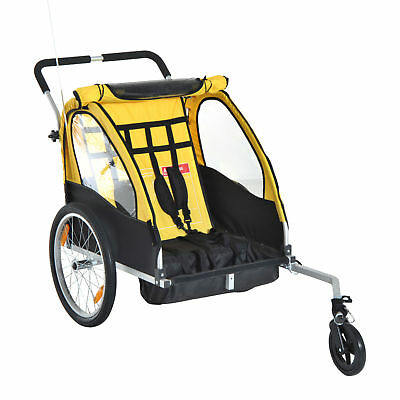 Aosom 2-in-1 Portable Kids Bicycle Trailer Child Tour Bike Camp Weather Shield