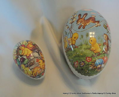 2 Charming Vintage Cardboard & Paper Easter Egg Candy Containers Germany