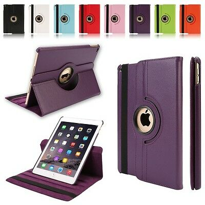 360° Rotating Folio Leather Smart Cover Stand Case Sleeve for Apple iPad 6 Air 2