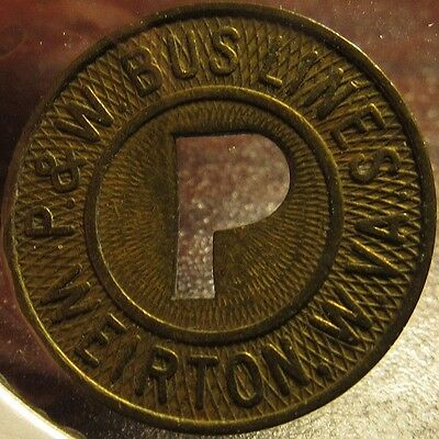 "Very Old P&W Bus Lines ""P"" Weirton, WV Transit Token - West Virginia"