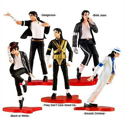 "Cool King Of Pop Michael Jackson 4"" Figures 5 Pose Figurines Set Dolls In Box"