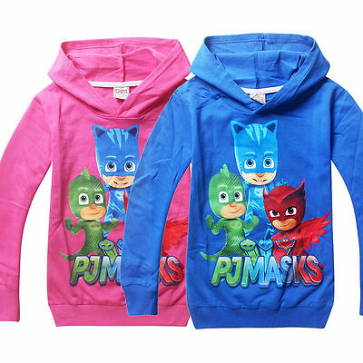 New Kids Girls Boys Long Sleeve PJ Masks Hoodies Casual Cartoon Top Clothes 3-7Y