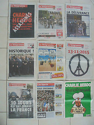 ★ Lot Collector Charlie Hebdo N°1178 + Telegramme 8 Journaux ★ Attentats Paris ★