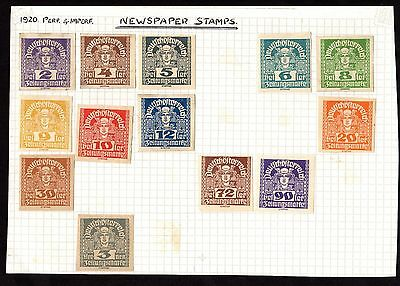 Stamps (x13) ~ AUSTRIA Austrian NEWSPAPER STAMPS ~ 1920