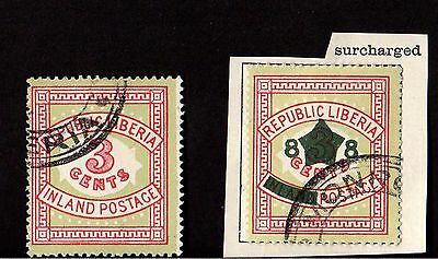 Stamps (x2) ~ LIBERIA Surcharge OVERPRINT ~ Early AFRICA