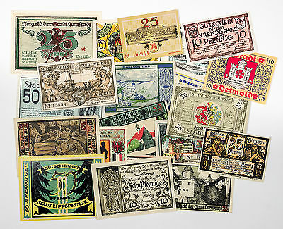 20 different towns Germany notgeld 1920-21 paper money most Au