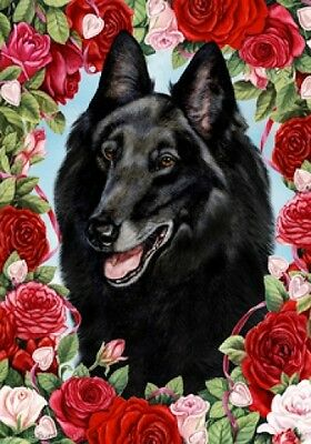 Large Indoor/Outdoor Roses Flag - Belgian Sheepdog 19204