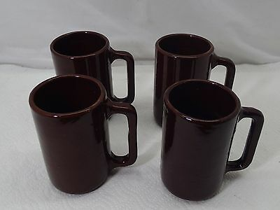 Vintage Lot Of 4 Monmouth Pottery Mugs Brown