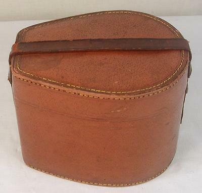 Stylish Antique Edwardian Brown Leather Horseshoe Shape Collar Trinket Box c1910