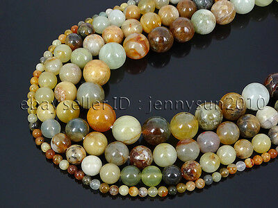 Natural Flower Jade Gemstone Round Loose Beads 15.5'' 4mm 6mm 8mm 10mm 12mm
