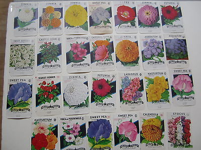 Lot of 27 Old Vintage 1940's - 1960's - FLOWER  - SEED PACKETS