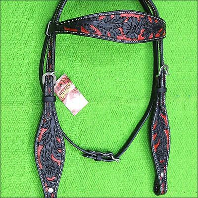 Hilason Western Leather Horse Bridle Headstall Black Red Hand Carved
