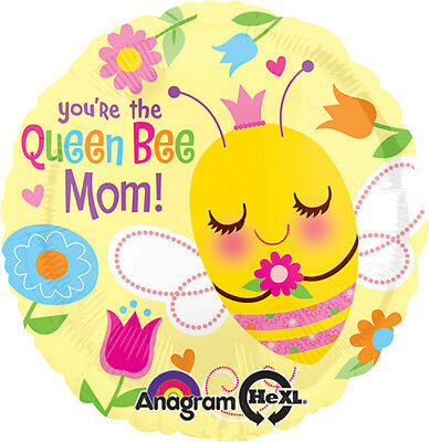Lot of 5 Happy Mothers Day 17 Inch Queen Bee Balloons Yellow