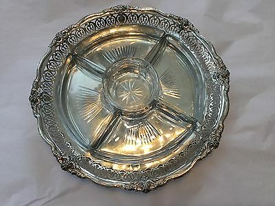 Reed and Barton French Renaissance sterling tray with glass inserts