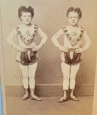 Antique Cdv Photo Circus Boys Acrobats Trapeze Willie Freddy O'brien Wood Bowery