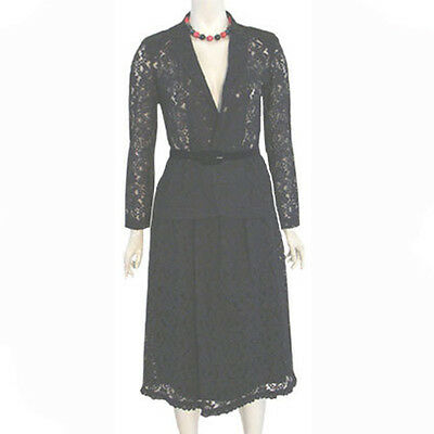 1980s Glam Goth Vintage Black Lace Jacket & Skirt Outfit Suit