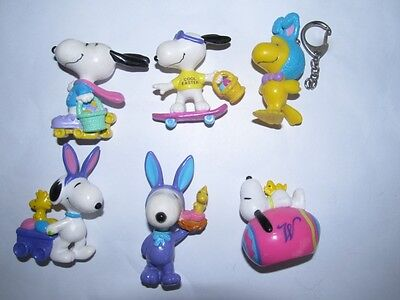 6 x Snoopy Easter PVC Figures LOT B   - EXC COND !!