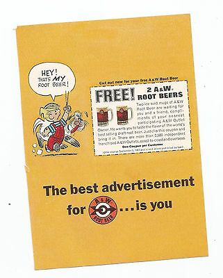 1967 A & W Root Beer Ad    Dennis the Menace   Coupon