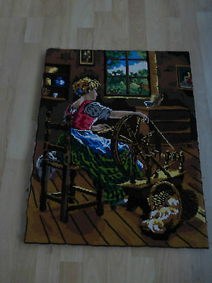 Royale de Paris completed French vintage tapestry, young girl working, romantic