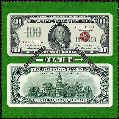Laminated Novelty Bookmark Small ( 5 X 2 ) Copy 1966 $100 Paper Money