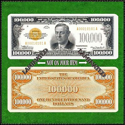 Laminated Novelty Bookmark Small ( 5 X 2 ) Copy 1934 $100,000 Gold Paper Money