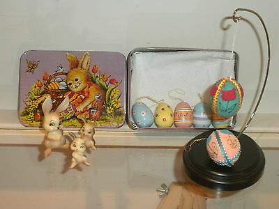 Vintage Easter Tin With 3 Wilton Bunnies/ Wooden and Felt Eggs, Hong Kong