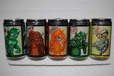 """' THE MINI-MONSTERS """" - ( 5 )  CANS Set on Different 7.5 oz Soda Brands"""