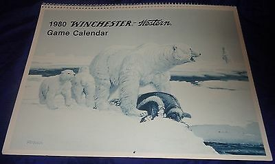 BR1968 WINCHESTER 1980 Game Calendar 12 pages of Ferrara Illustrations & Shots