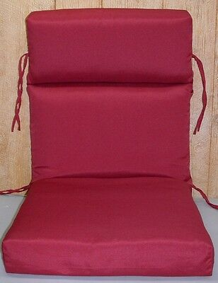 (2) Outdoor Patio Chair Cushions ~ Red ~ 21.5 x 46 x 4 **NEW**
