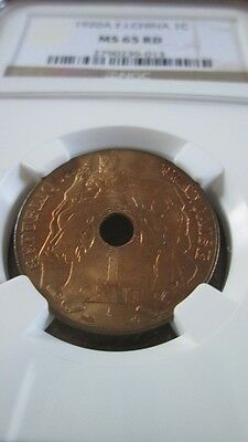 French Indochina 1 Cent 1920A NGC MS 65 RD