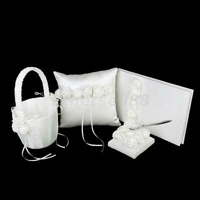 Ivory Wedding Roses Set 4pcs Guest Book+Pen Stand+Ring Pillow Cushion+Basket