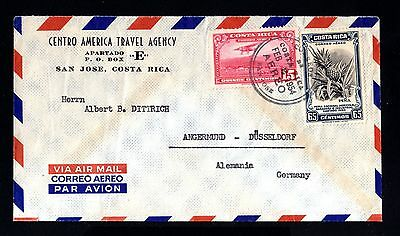 14609-COSTA RICA-AIRMAIL COVER SAN JOSE to ANGERMUND (germany)1954.Aereo.