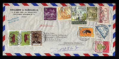 14597-ECUADOR-AIRMAIL REGISTERED COVER GUAYAQUIL to ANGERMUND(germany)1962.Aereo